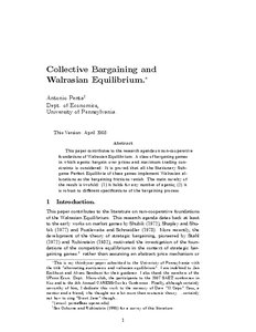 Collective Bargaining and Walrasian Equilibrium - Munich