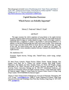 capital structure decisions which factors are Factors affecting the capital structure in textile and garment  costs do not affect the capital structure decisions made by management.