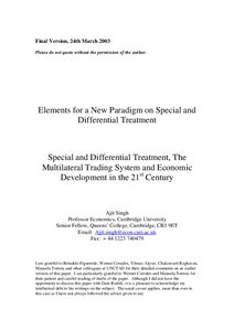 Special and Differential Treatment, The Multilateral Trading System and Economic Development in ...