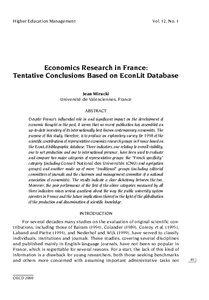 Economic indicators research paper