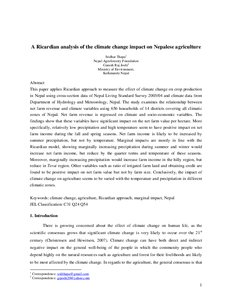 A Ricardian Analysis Of The Climate Change Impact On Nepalese  A Ricardian Analysis Of The Climate Change Impact On Nepalese Agriculture