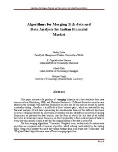 Algorithms for merging tick data and data analysis for Indian