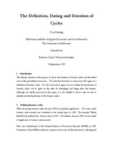 The Definition, Dating And Duration Of Cycles