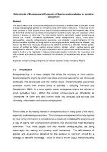 Entrepreneur research paper
