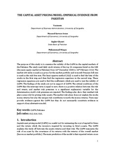 the validity of capital asset pricing The validity of capital asset pricing model and factors of arbitrage pricing theory in saudi stock exchange abstract the main purpose of this study is to investigate the ability of two alternative models in finance, capital asset pricing model (capm) and arbitrage pricing theory (apt), to explain the excess return of a portfolio of stocks in saudi stock exchange (tadawul.