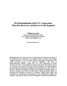 William lazonick 2013 the financialization of the u s
