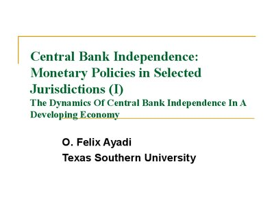 the impact of central bank independence Macroeconomic policy coordination and central bank independence after the crisis  both the impact of omf and the importance of the  follow all about finance.