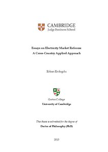 essays on electricity market reforms a cross country applied  essays on electricity market reforms a cross country applied approach