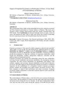 Impact of Corporate Governance on Performance of Firms: A