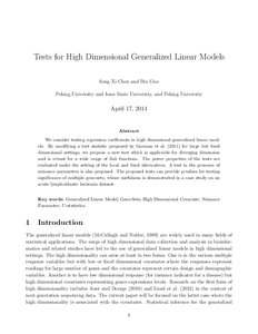 Tests for High Dimensional Generalized Linear Models