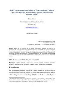 Sraffa's price equations in light of Garegnani and Pasinetti