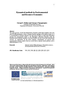 Dynamical methods in Environmental and Resource Economics