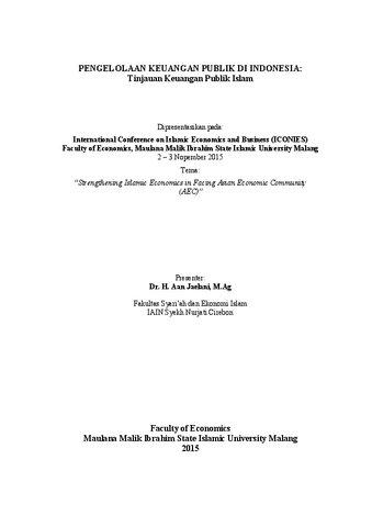 Pengelolaan Keuangan Publik Di Indonesia Tinjauan Keuangan Publik