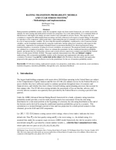 Rating Transition Probability Models and CCAR Stress Testing