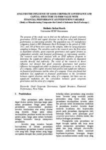 Pengaruh Good Corporate Governance Gcg Dan Struktur Modal Terhadap Nilai Perusahaan Dengan Kinerja Keuangan Sebagai Variabel Mediasi Studi Pada Perusahaan Manufaktur Yang Terdaftar Di Bursa Efek Indonesia Munich Personal Repec Archive