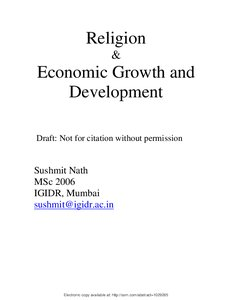 Religion & Economic Growth and Development - Munich Personal