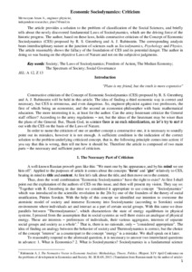 Economic Sociodynamics: Criticism - Munich Personal RePEc
