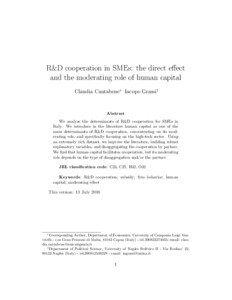 R D Cooperation In Smes The Direct Effect And The Moderating Role