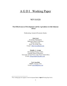 The Effectiveness of Development Aid for Agriculture in Sub